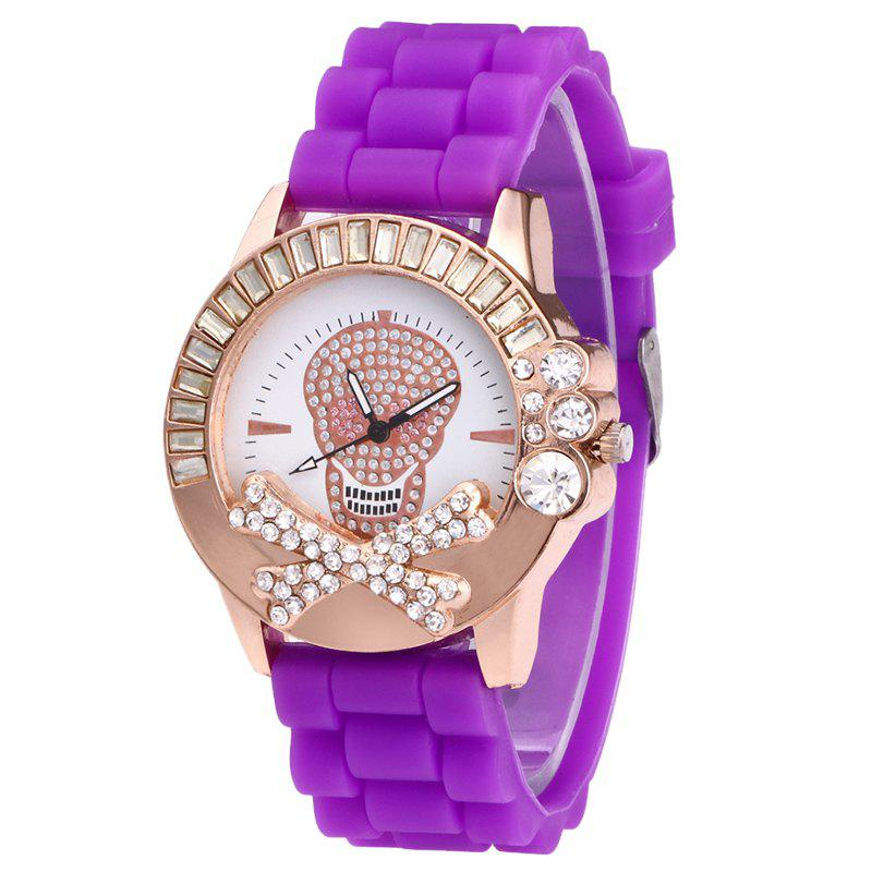 Rhinestone Skull Silicone Watch - PURPLE