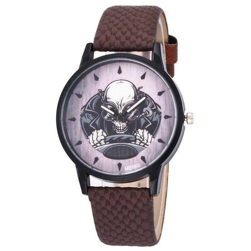Montre de quartz de direction squelette - BRUN