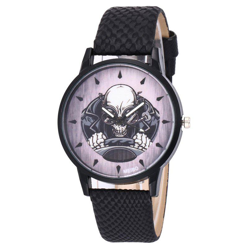 Montre de quartz de direction squelette - Noir