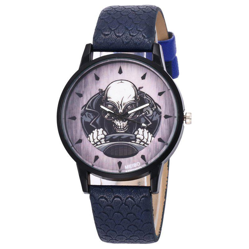 Driving Skeleton Face Quartz Watch - DEEP BLUE