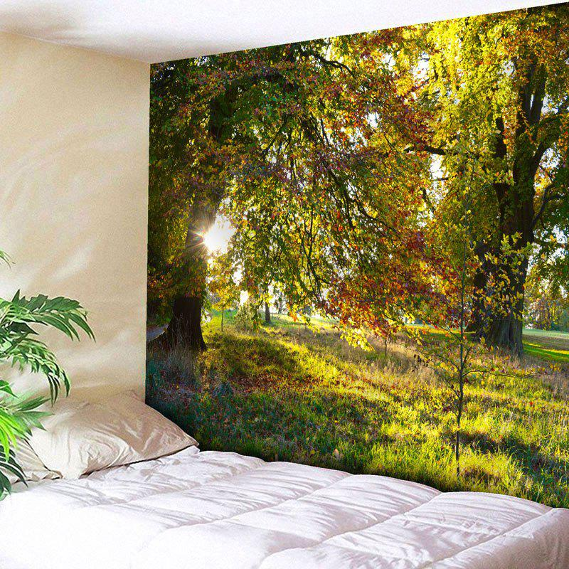Forest Scenery Print Tree Wall Art Tapestry - YELLOW GREEN W79 INCH * L59 INCH