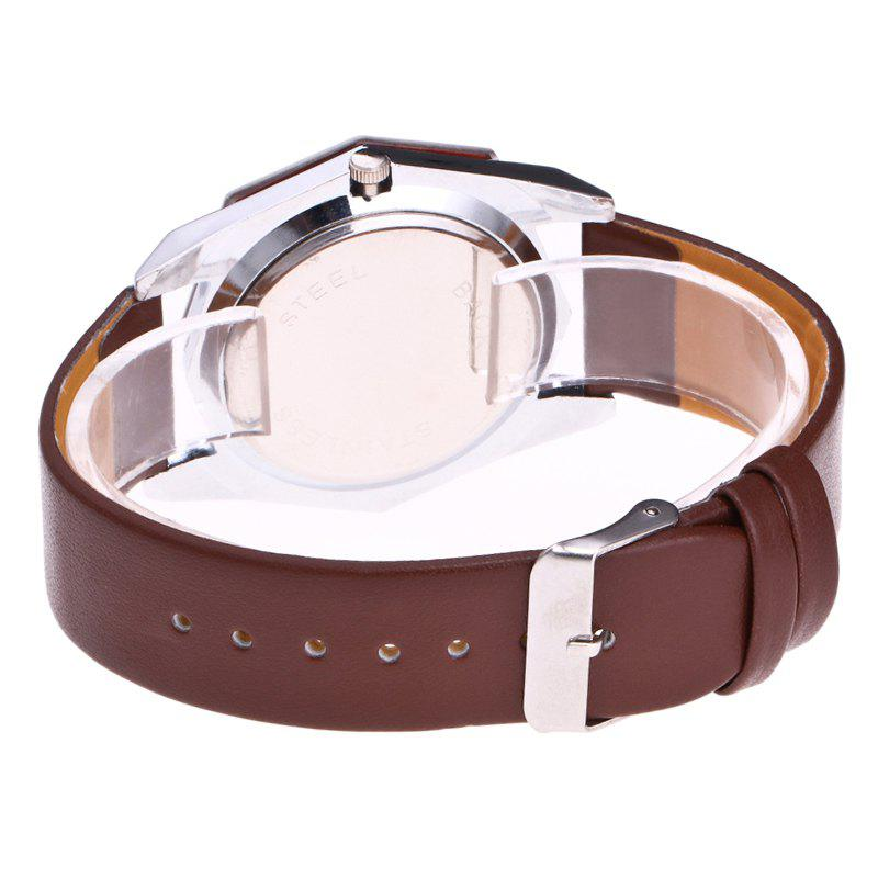 Faux Leather Octagon Watch - BROWN