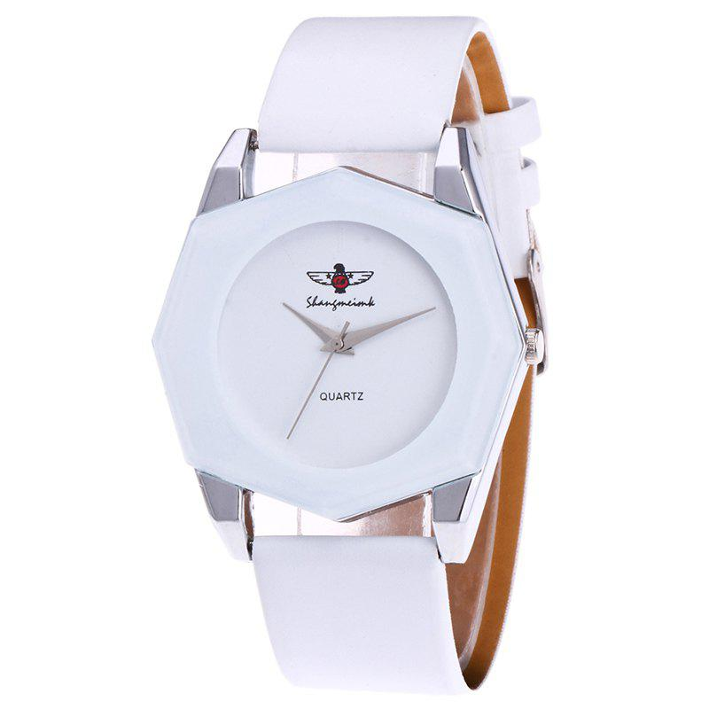 Faux Leather Octagon Watch - WHITE