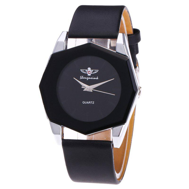 Faux Leather Octagon Watch - BLACK