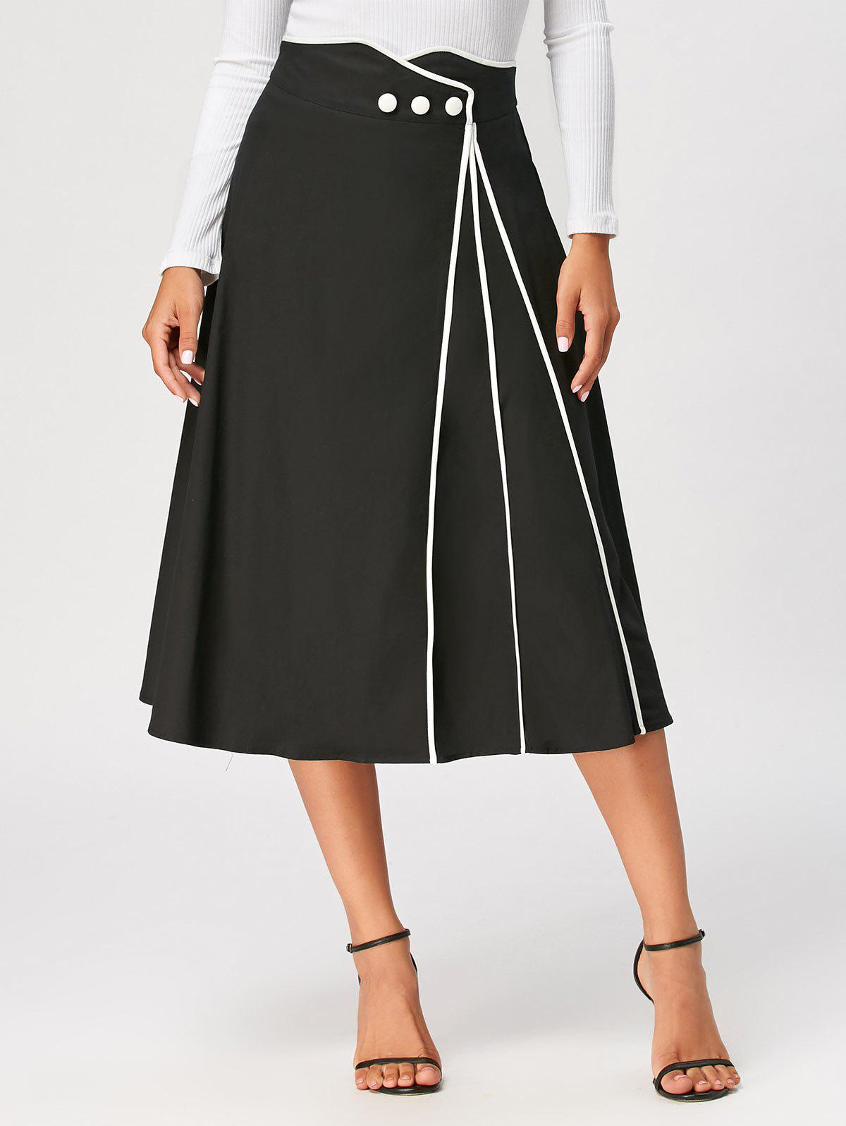 Color Trim Midi A Line Skirt - BLACK XL