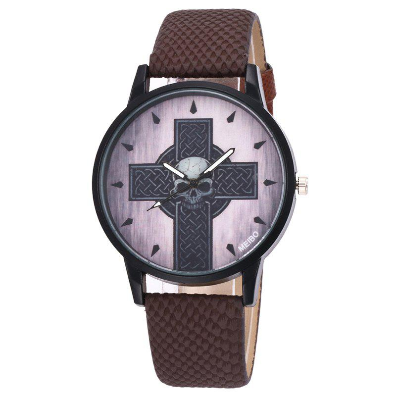 Cross Skull Face Quartz Watch - BROWN