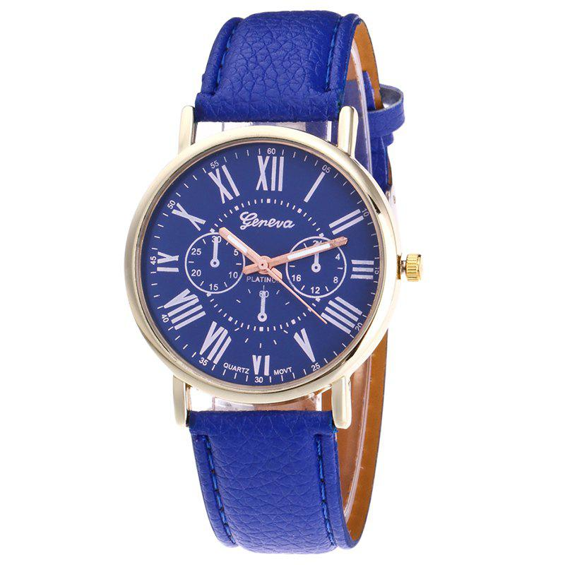 Roman Numeral Round Watch - BLUE
