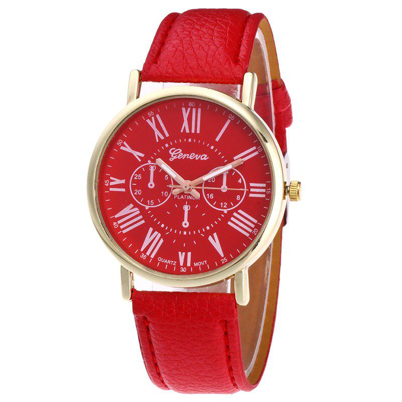 Roman Numeral Round Watch - RED