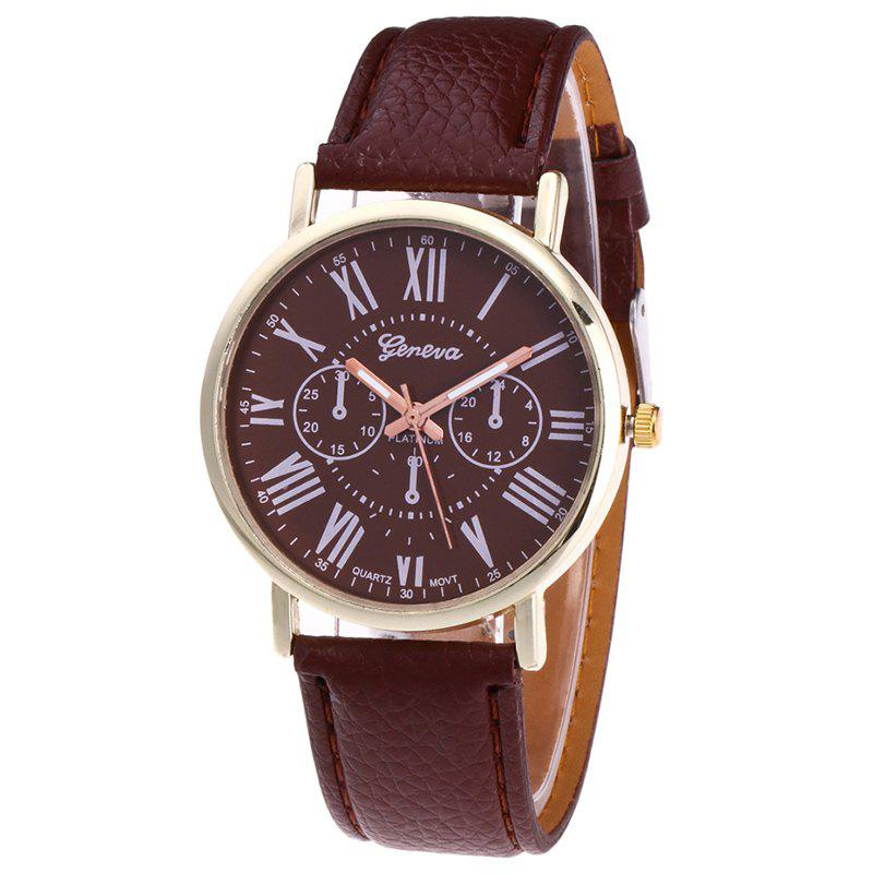 Roman Numeral Round Watch - BROWN