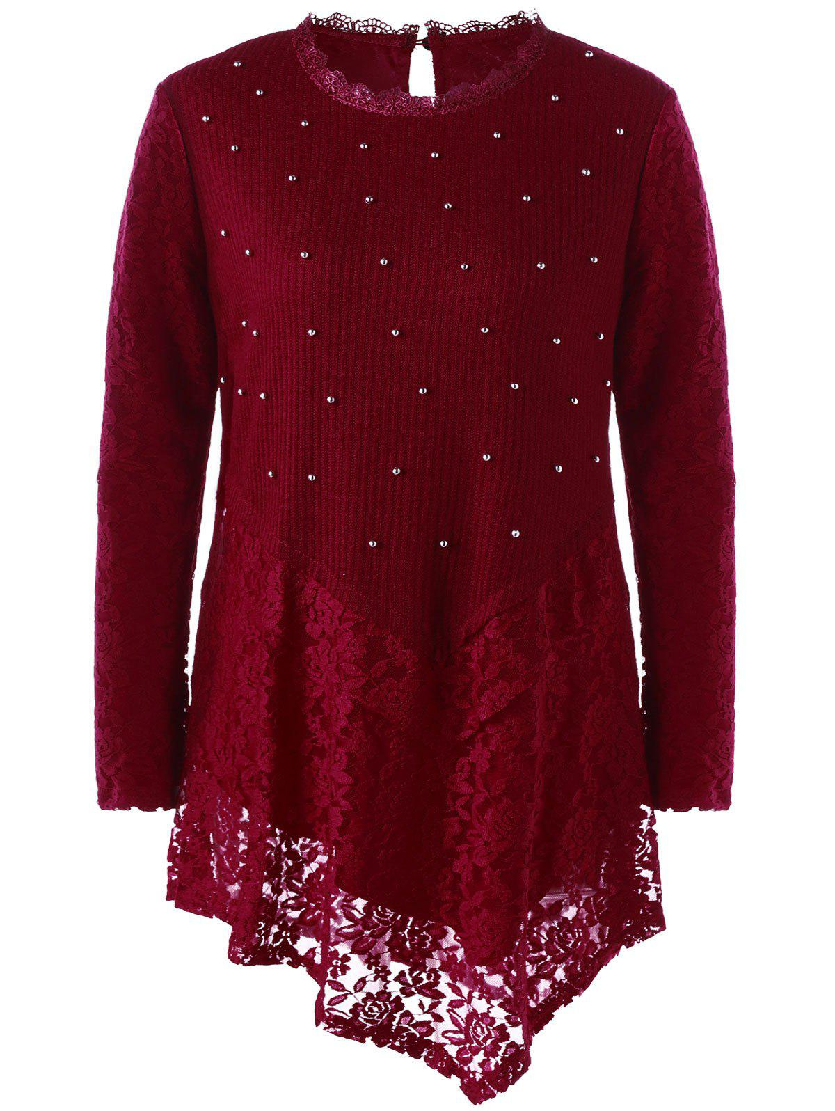 Faux Pearl Plus Size Asymmetric Lace Top - WINE RED XL