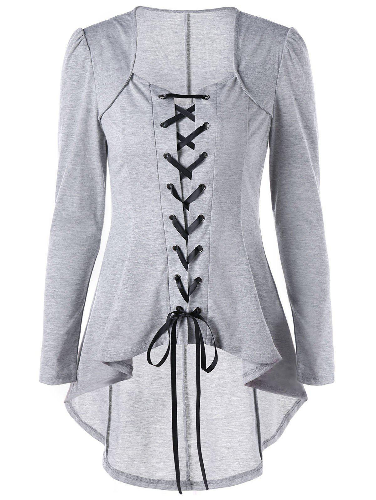 Lace Up High Low Gothic Top - LIGHT GREY XL
