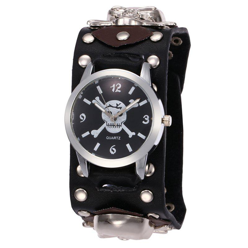 Gothic Style Rivet Skull Watch - BLACK