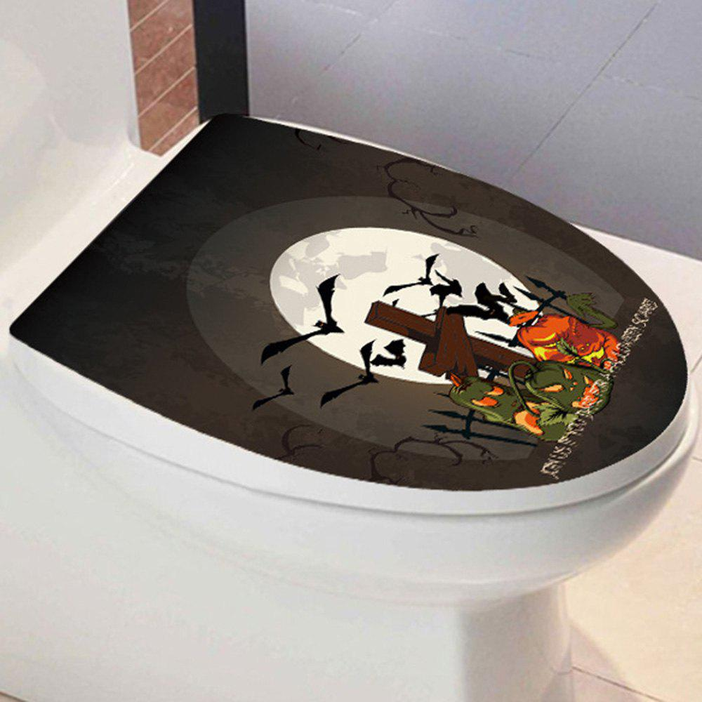 Halloween Pumpkin Bat Toilet Sticker - BLACK