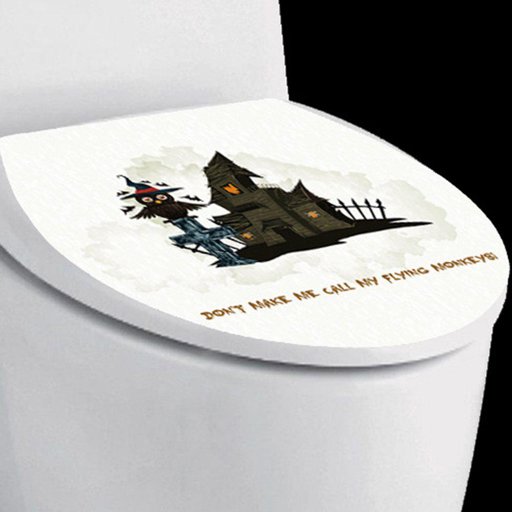 Halloween Castle Owl Toilet Sticker - BLACK