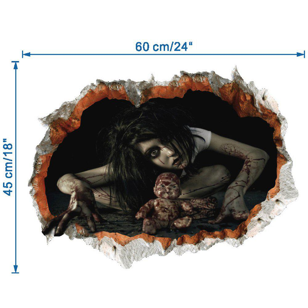 2018 halloween zombie 3d broken wall art sticker black in for Stickers 3d pared