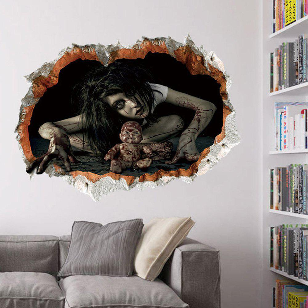 2018 halloween zombie 3d broken wall art sticker black in wall stickers online store best black. Black Bedroom Furniture Sets. Home Design Ideas