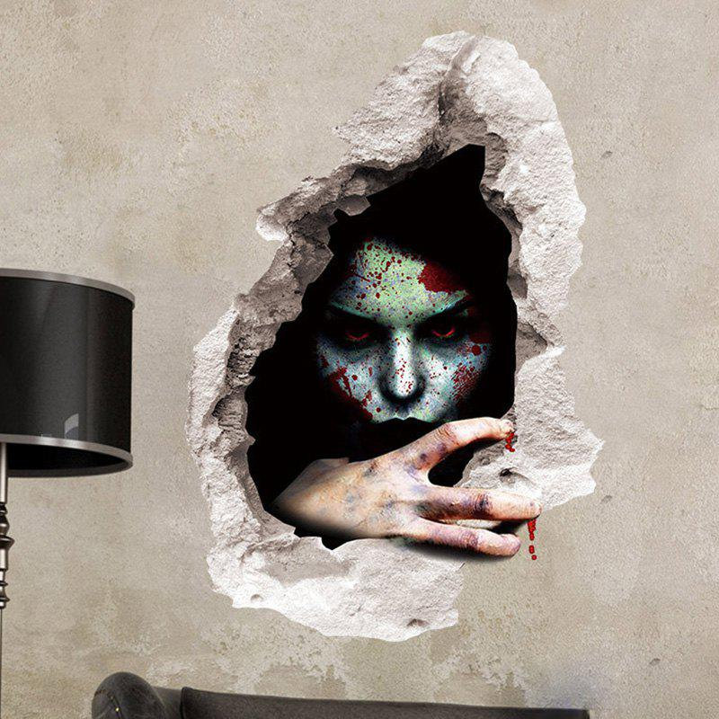 Scary Ghost 3D Broken Wall Art Sticker - BLACK