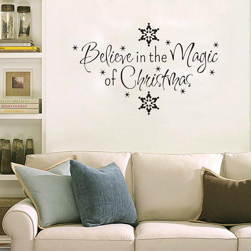 Christmas Letter Snowflake Wall Art Stickers   BLACK