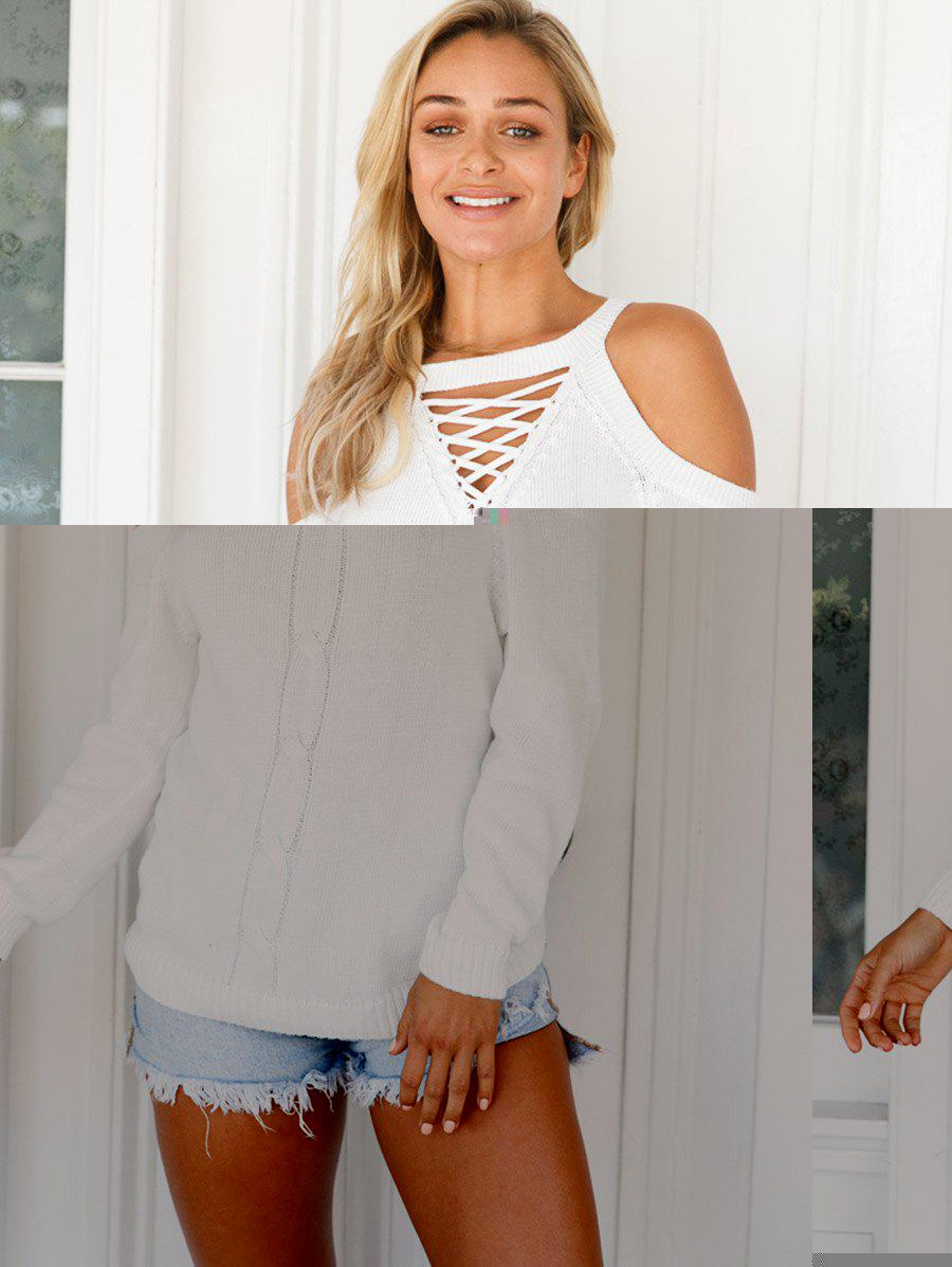 Criss Cross Cold Shoulder Sweater - Blanc XL