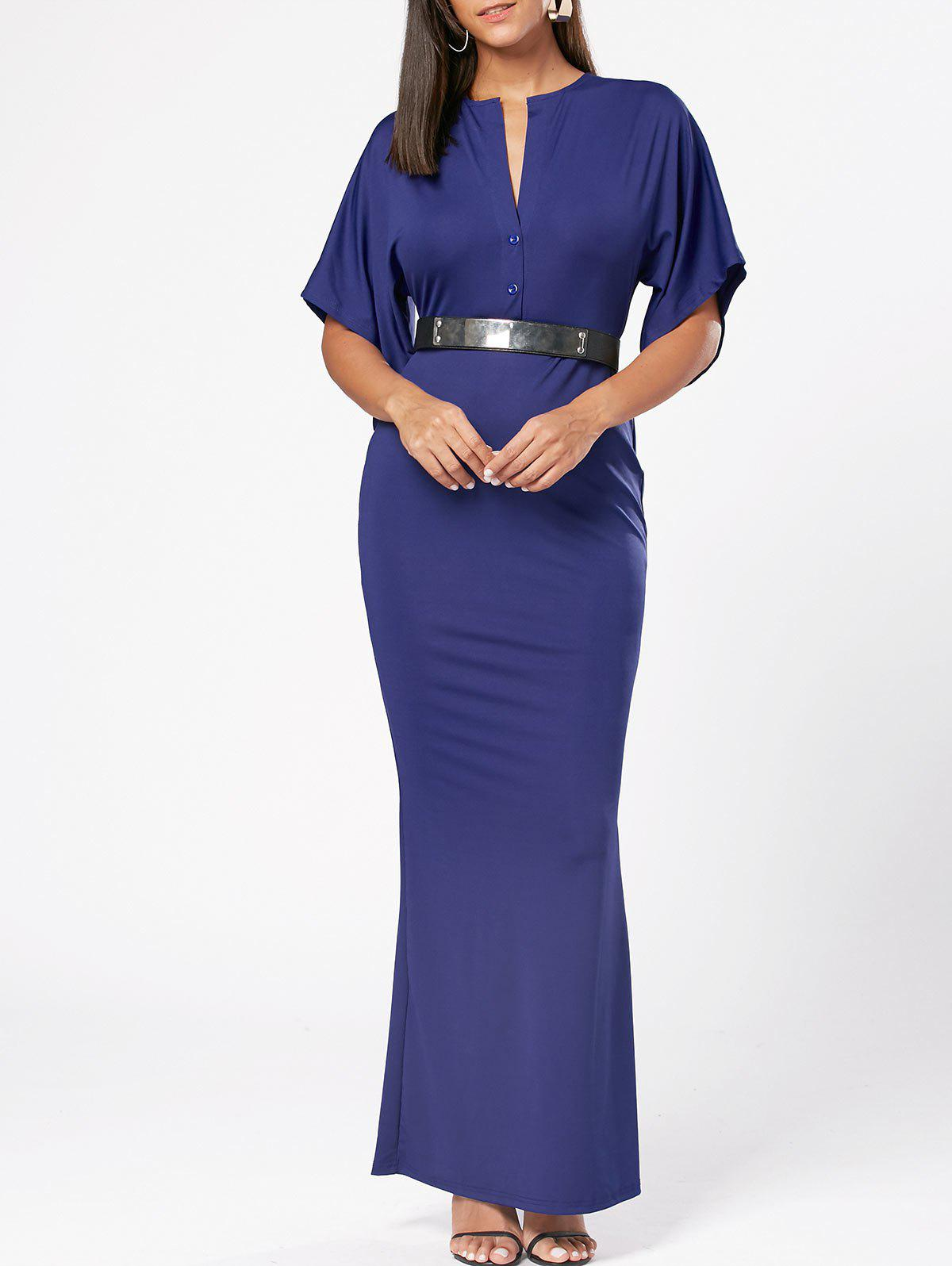 Raglan Sleeve V Neck Bodycon Maxi Dress - Bleu M