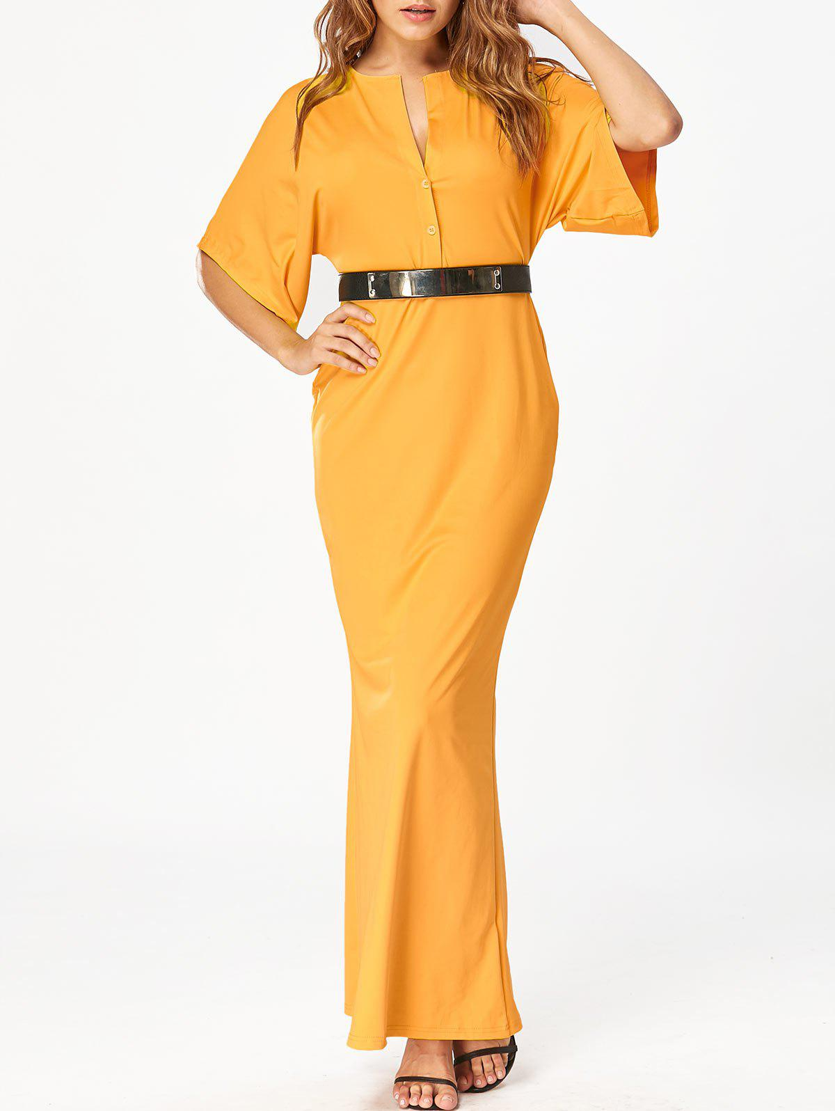 Raglan Sleeve V Neck Bodycon Maxi Dress - Jaune M