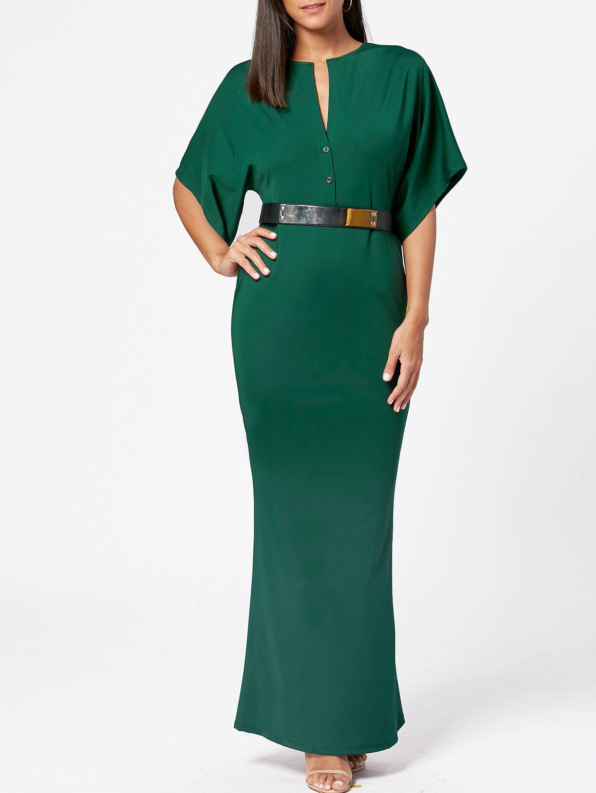 Raglan Sleeve V Neck Bodycon Maxi Dress - Vert Armée 2XL