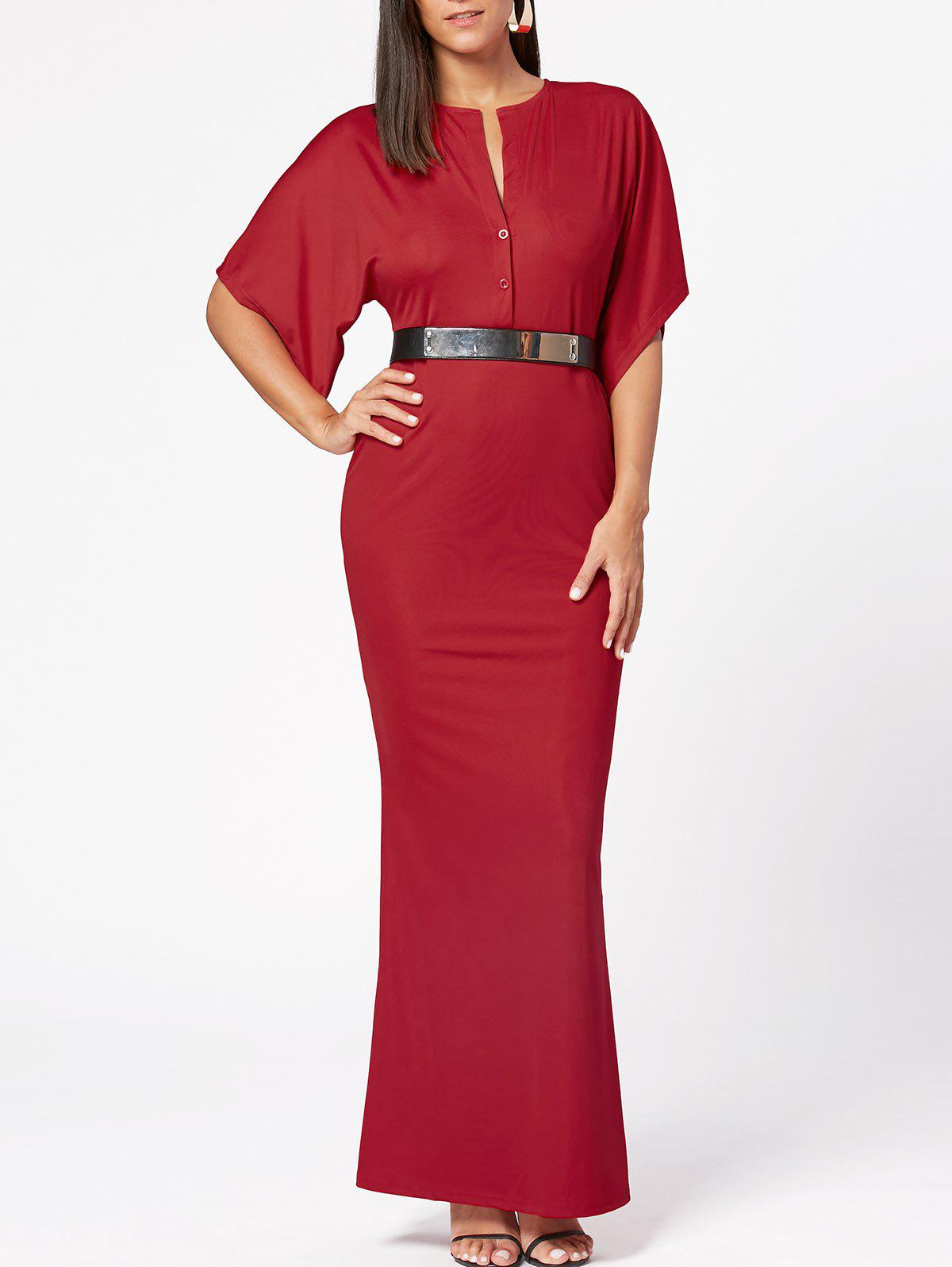 Raglan Sleeve V Neck Bodycon Maxi Dress - Rouge M