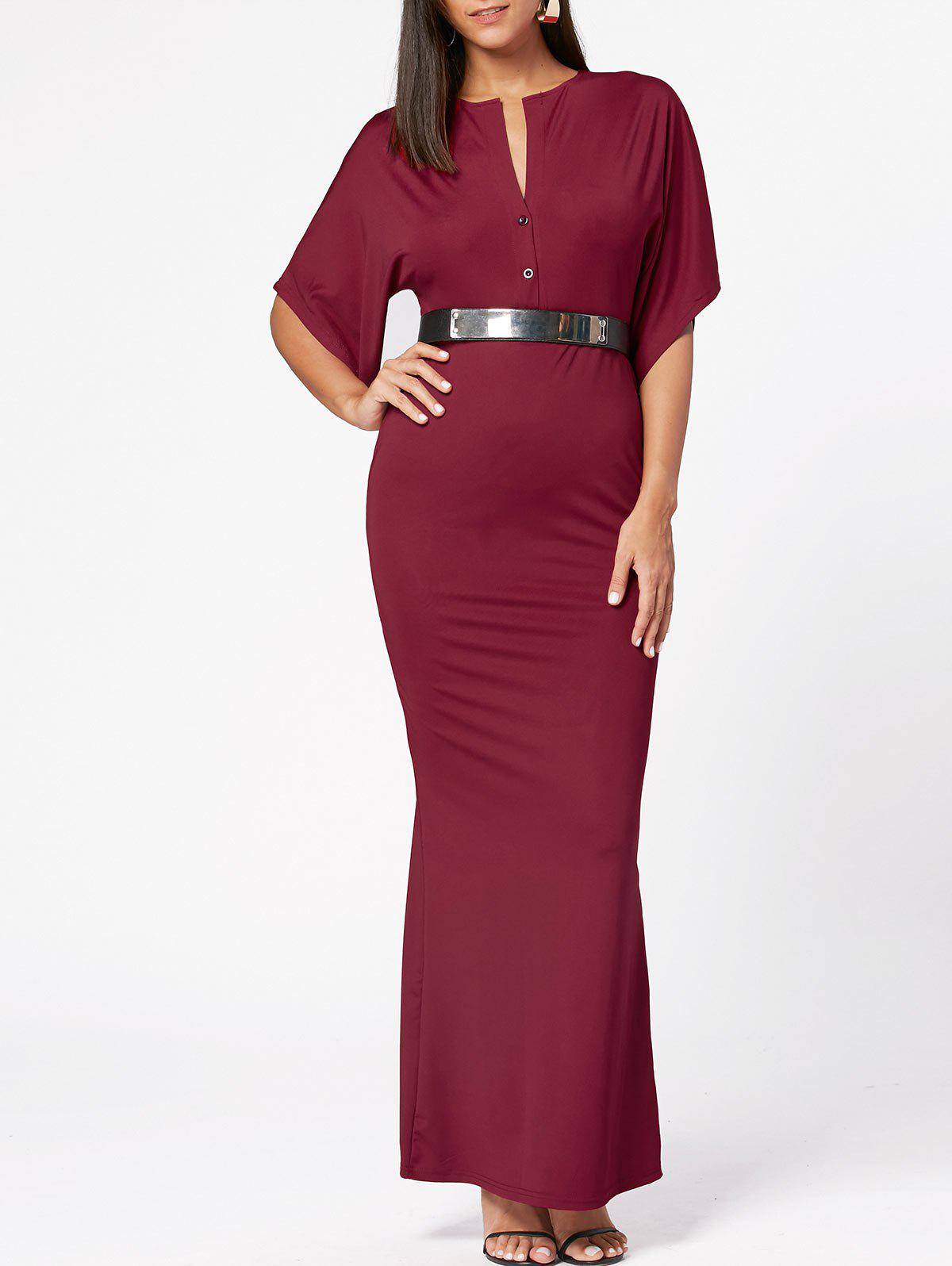 Raglan Sleeve V Neck Bodycon Maxi Dress - Rouge vineux XL