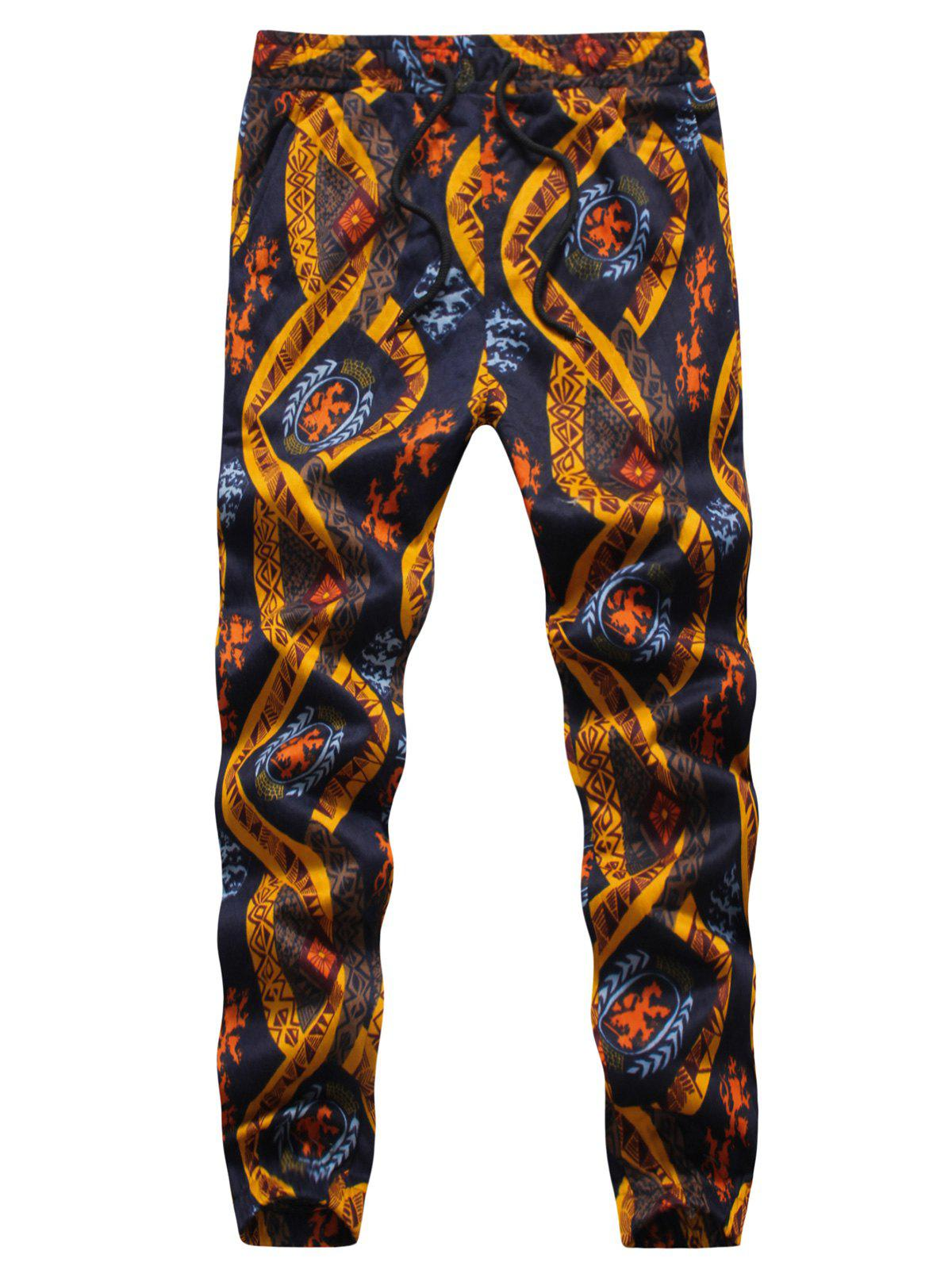 Embossing Ethnic Style Print Jogger Pants - multicolorcolore L