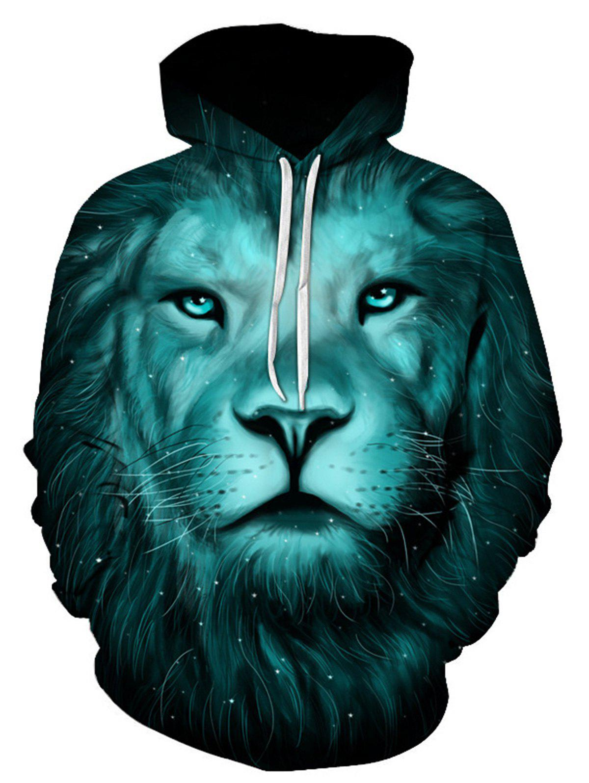 Galaxy 3D Lion Print Pullover Hoodie - COLORMIX L