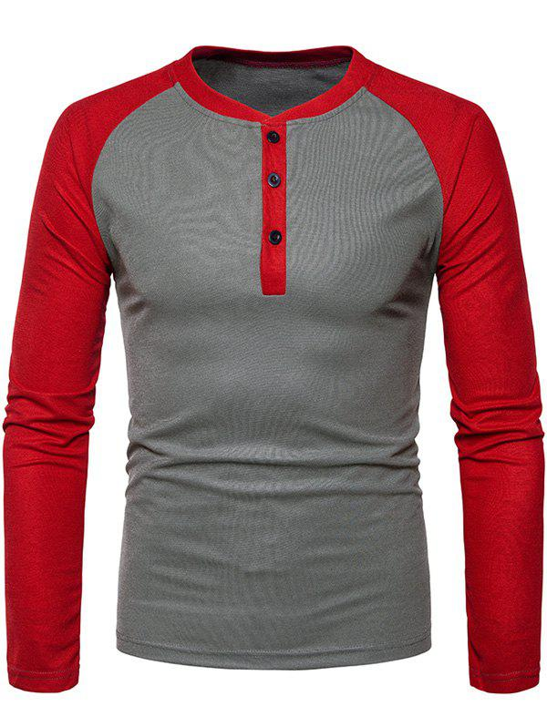 Color Block Raglan Sleeve Henley T-Shirt - IRON GREY 2XL