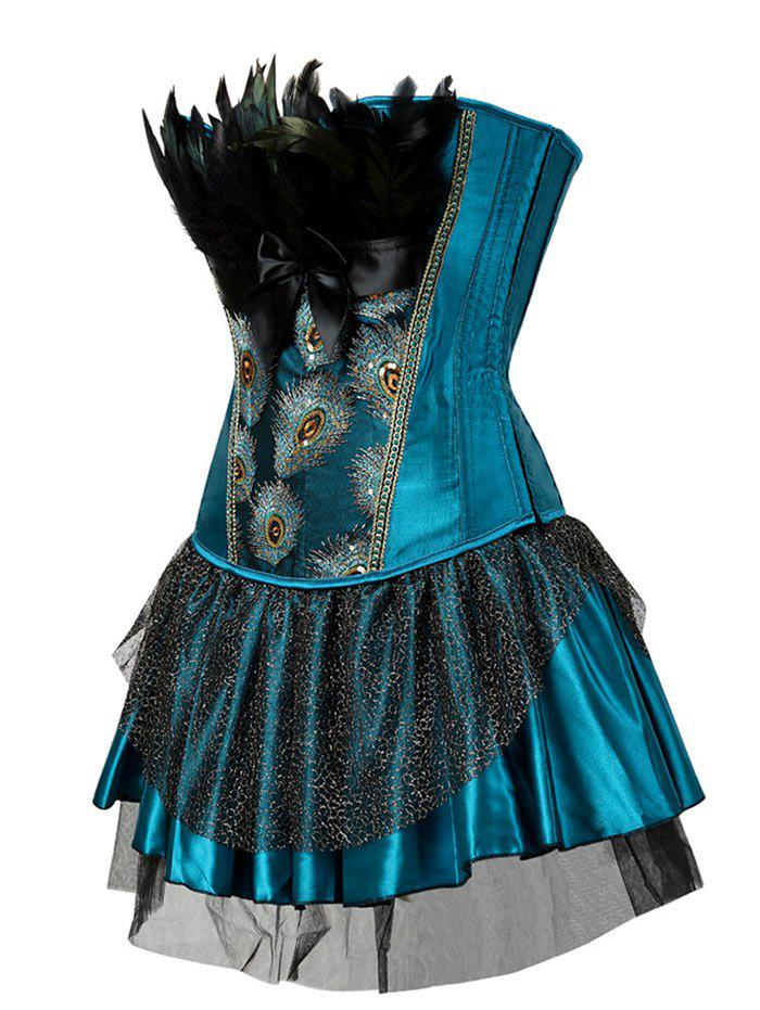 Two Piece Corset Dress with Feather - LAKE BLUE L