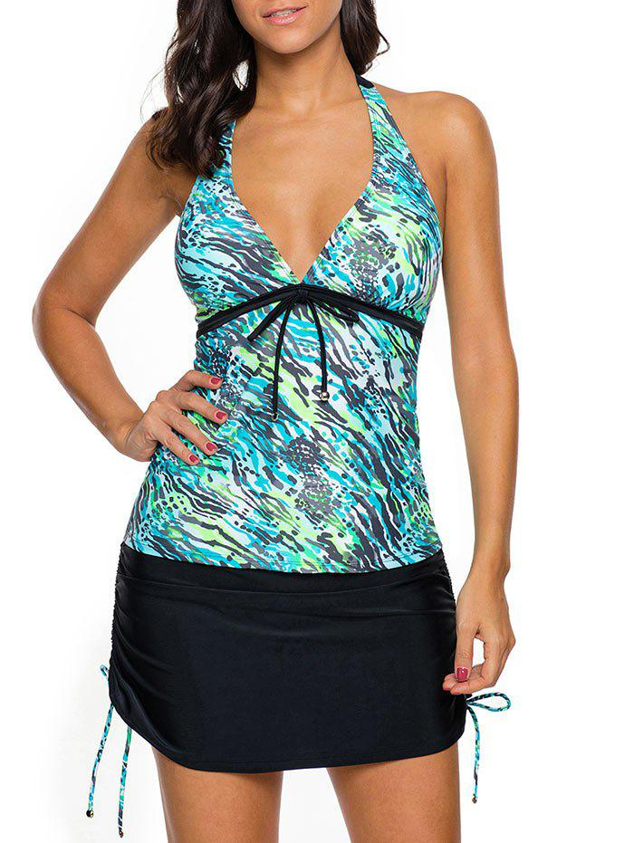 Halter Skirted Tankini Set - BLUE GREEN L