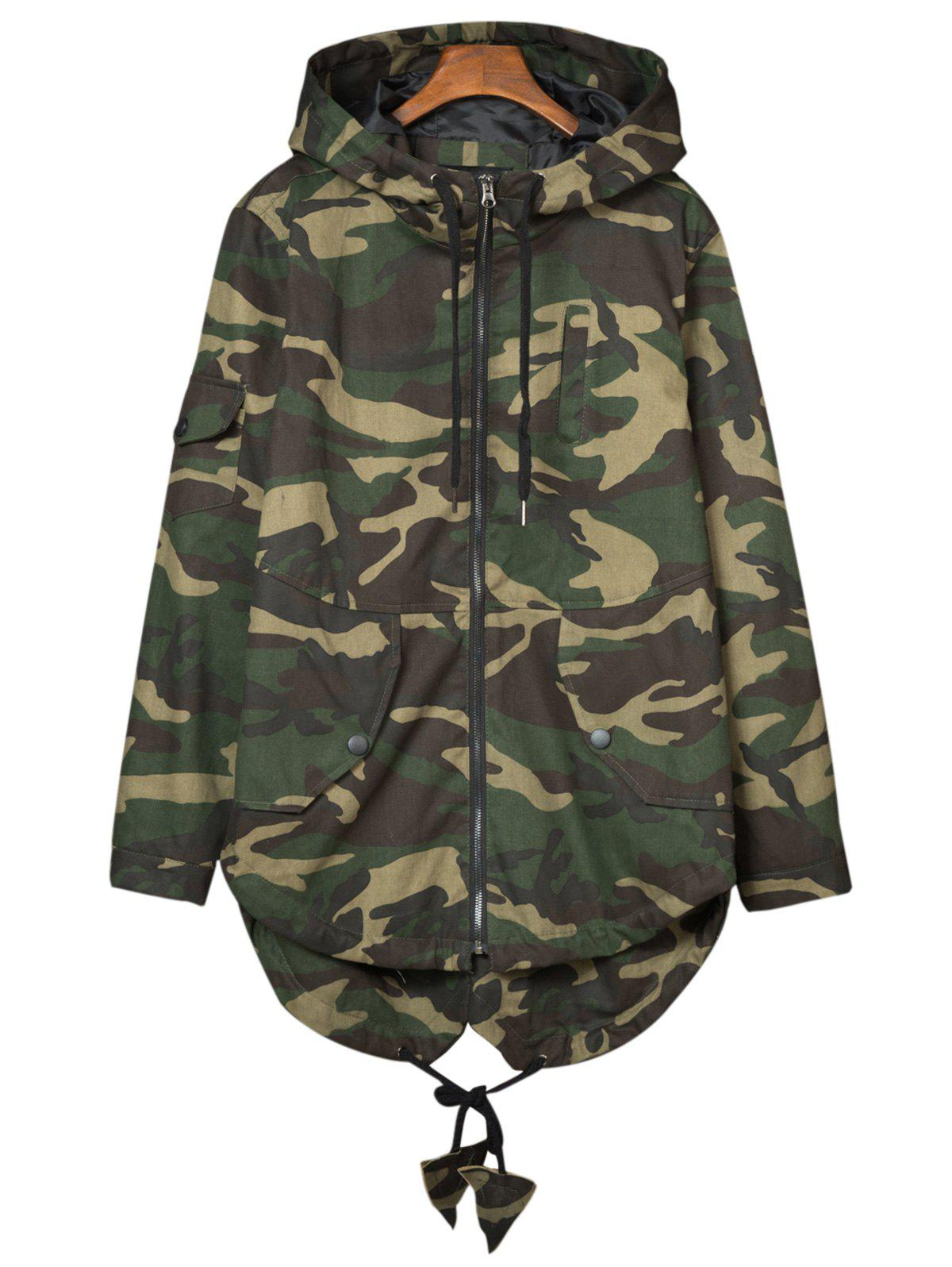 Hooded Camouflage Pockets Lightweight Coat, ARMY GREEN CAMOUFLAGE ...