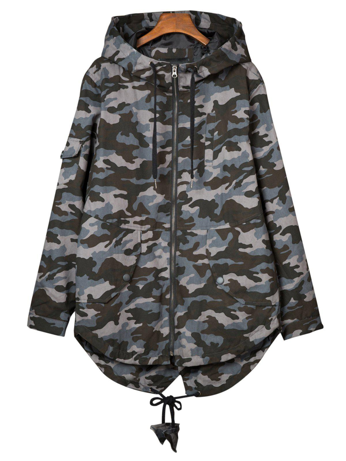 Hooded Camouflage Pockets Lightweight Coat plus size flap pockets hooded camouflage coat