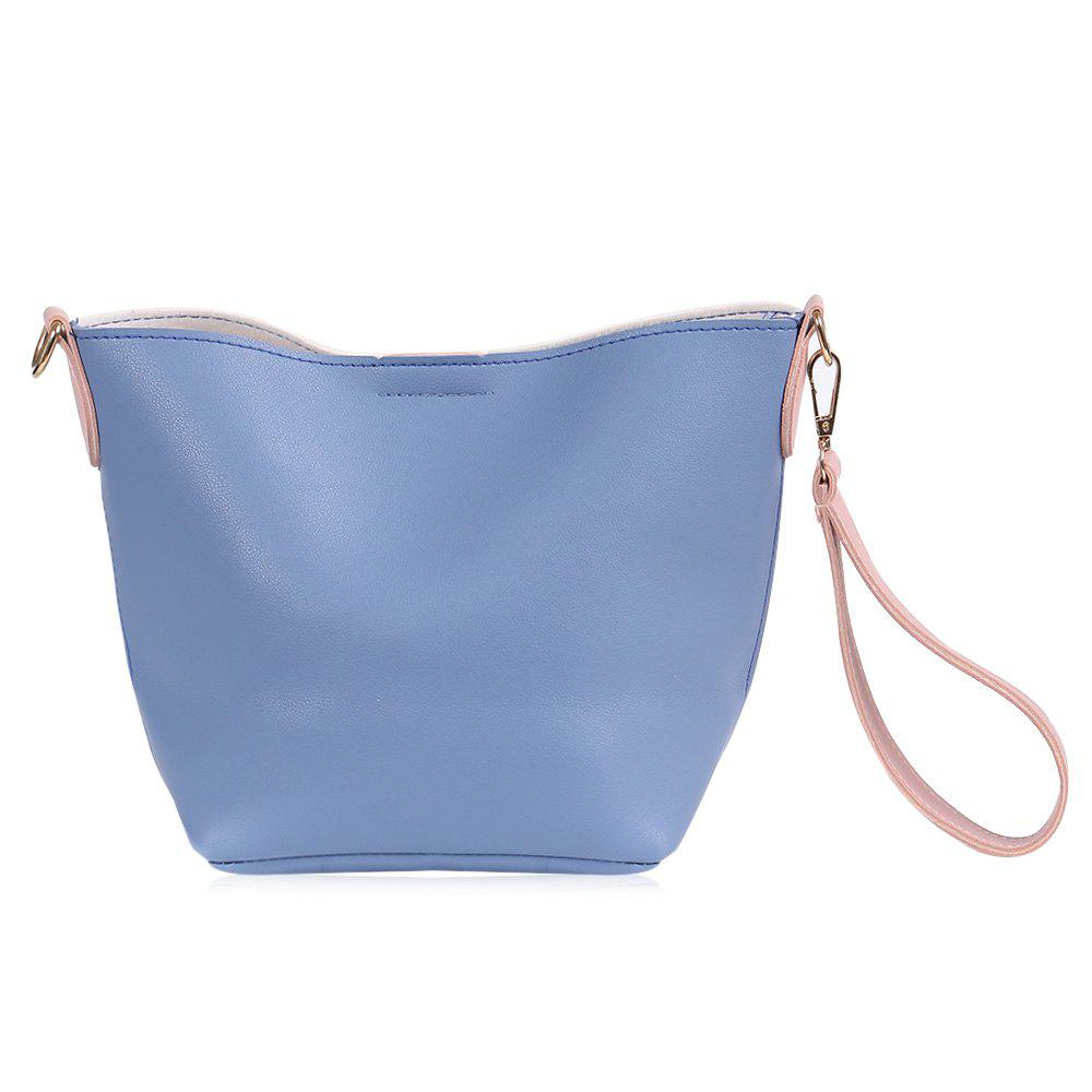 Wristlet Color Block Crossbody Bag - Bleu et Blanc