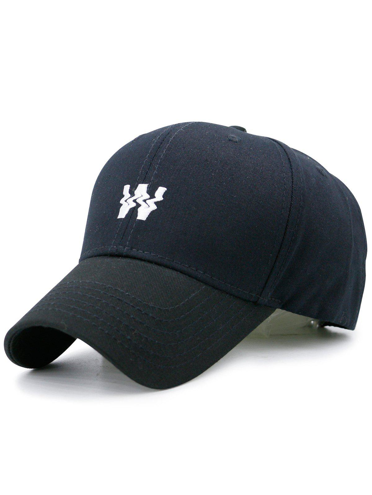 Distorted W Embroidered Baseball Hat, Black