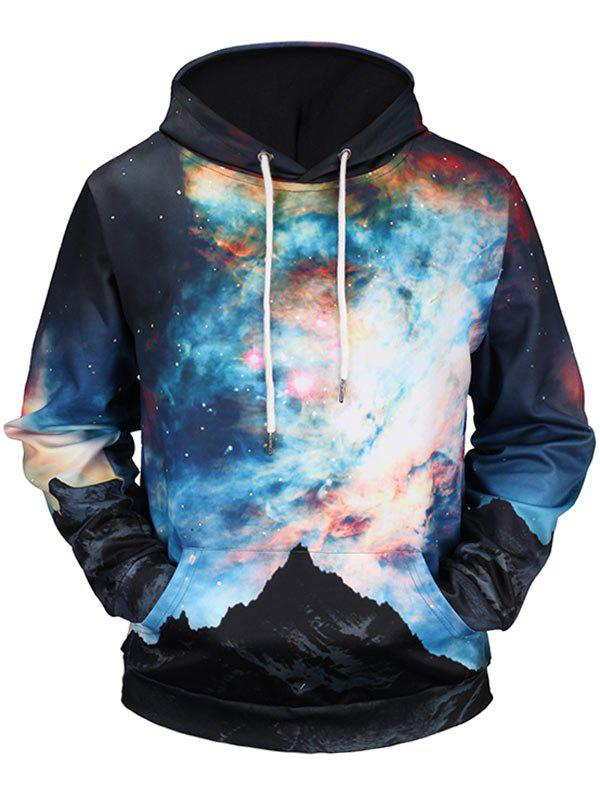 Kangaroo Pocket Drawstring Colorful Galaxy Hoodie - COLORMIX 2XL
