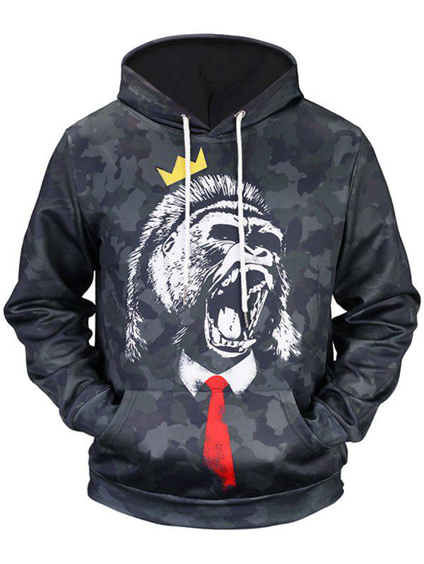 Kangaroo Pocket Roar Gorilla Printed Camo Hoodie - BLACK XL
