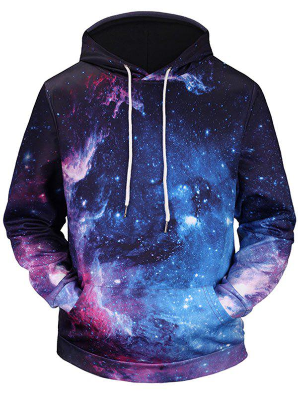 3D Galaxy Printed Kangaroo Pocket Pullover Hoodie - COLORMIX 3XL