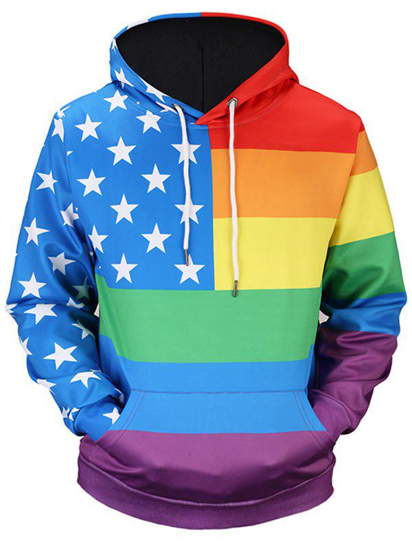 Kangaroo Pocket Star Rainbow Stripe Print Hoodie - COLORMIX XL