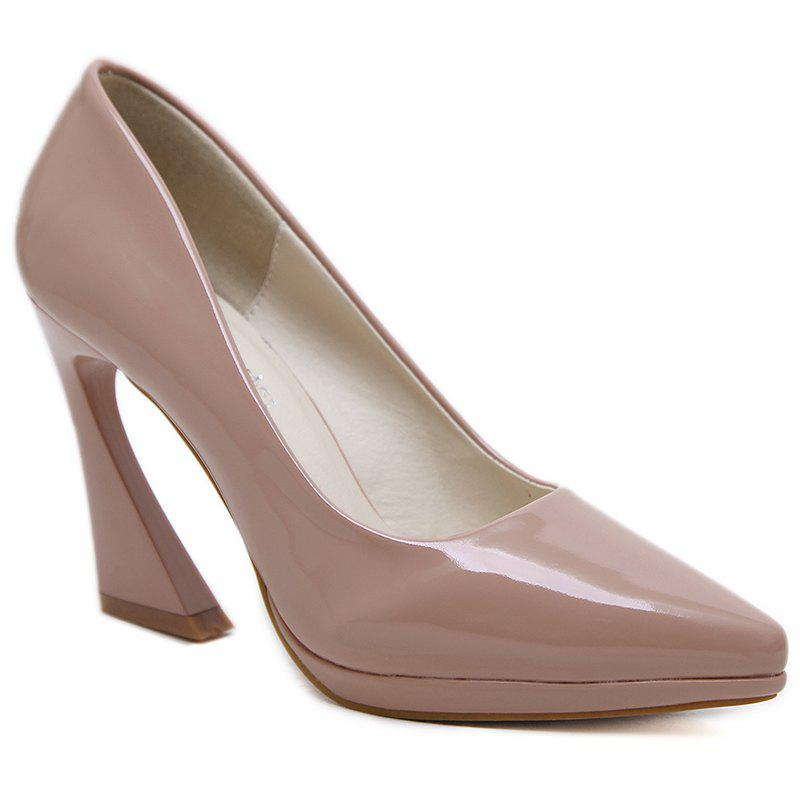 Point Toe Strange Heel Basic Pumps - APRICOT 36