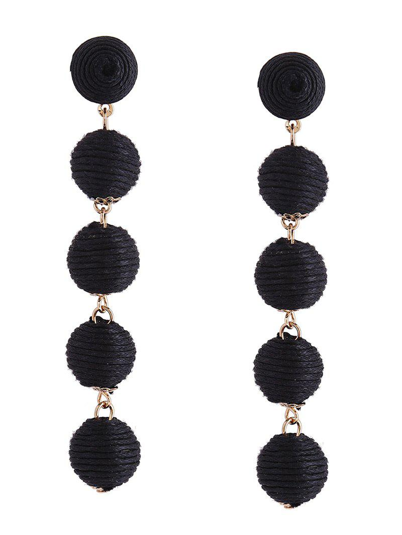 Ethnic Ball Drop Earrings - BLACK