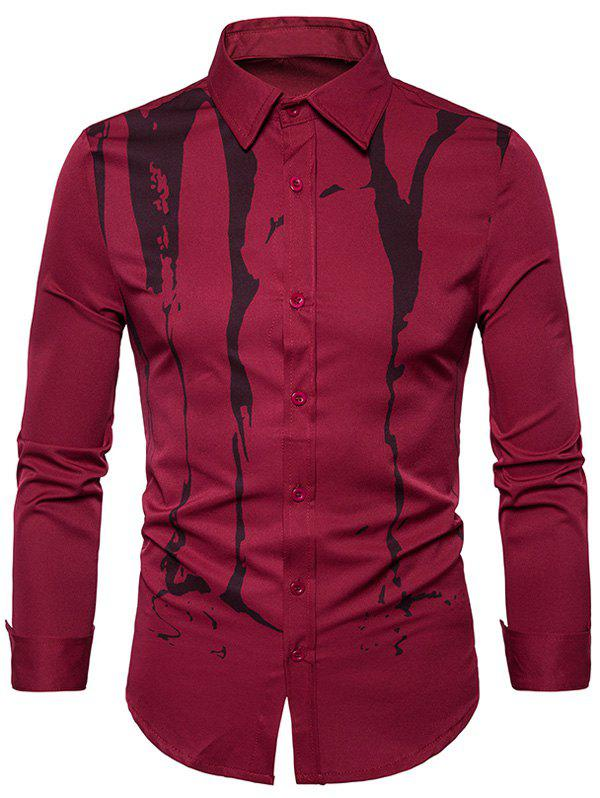 Splatter Paint Printed Long Sleeve Shirt - WINE RED XL