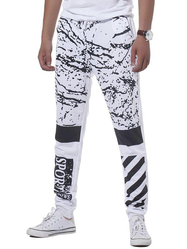 Stripe Graphic Splatter Paint Print Jogger Pants - Blanc XL
