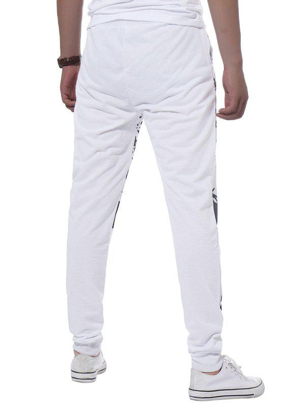 Stripe Graphic Splatter Paint Print Jogger Pants - Blanc 2XL