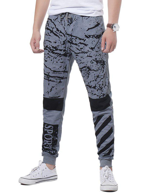 Stripe Graphic Splatter Paint Print Jogger Pants - Gris Clair 2XL