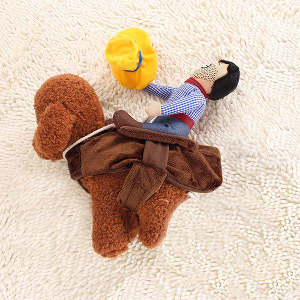 Knight Outfit Cowboy Rider Pet Costume for Dog - BROWN S