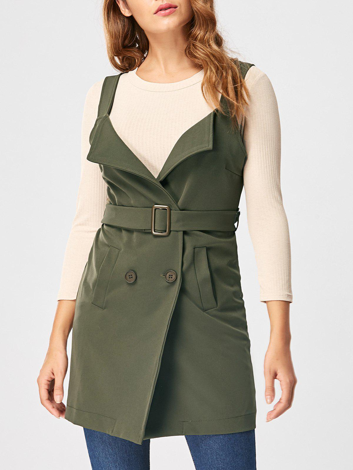 Vertical Pockets Waistcoat with Belt - ARMY GREEN L
