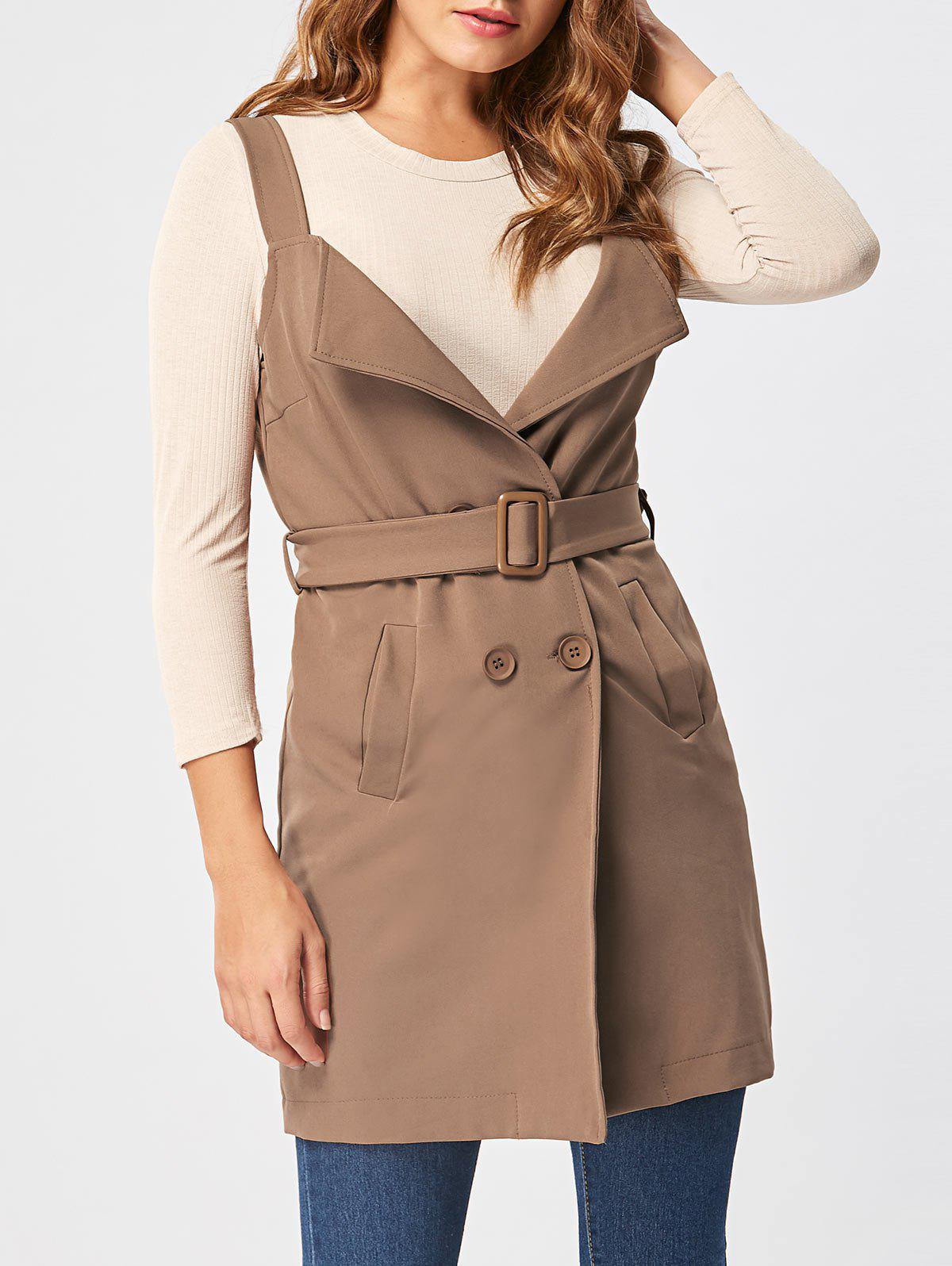 Vertical Pockets Waistcoat with Belt - KHAKI L